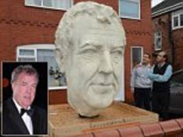8ft bust of jeremy clarkson outside manchester home