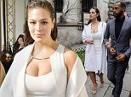 ashley graham and justin ervin attend max mara's mfw show
