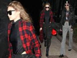 Gigi Hadid and Bella Hadid go to a fitting during MFW