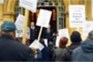 protests as leicester city council votes to increase council tax...