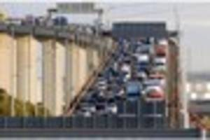 m25 dartford crossing: all lanes open but heavy traffic remains