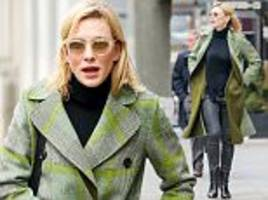 cate blanchett effortlessly chic in green plaid coat in ny