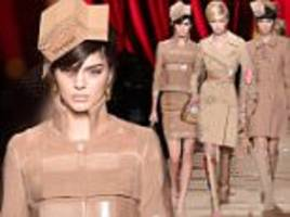 kendall jenner wears cardboard box at moschino mfw show