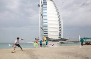 Andy Murray and Roger Federer kick up a sand storm ahead of Dubai campaigns