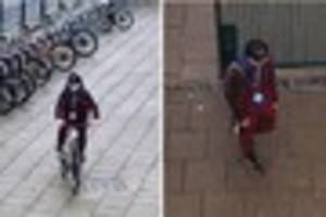 Man in distinctive burgundy outfit sought after bike thefts