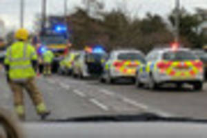 a16 closed at stickney due to fire - emergency services at the...