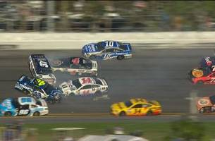 Jimmie Johnson Sets off Huge Wreck | 2017 DAYTONA 500 | NASCAR ON FOX