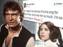 harrison ford doesn't sing for carrie fisher's in memoriam