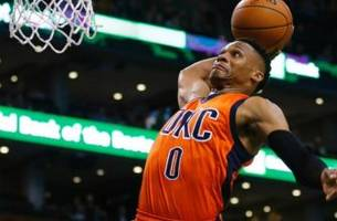 watch russell westbrook viciously dunk on demarcus cousins to foul him out