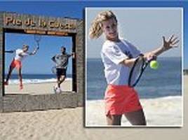 bouchard plays tennis with del potro ahead of mexican open