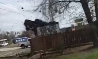 getaway goes airborne after driver of a stolen truck loses control