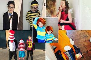 coleen rooney's sons lead celebrity world book day costumes as matching horrid henrys while geri horner gets creative
