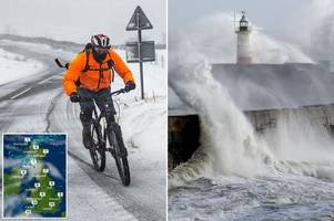 uk weather: snow and flood warnings issued as freezing downpours sweep across britain in time for the weekend