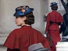 emily blunt appears in costume for mary poppins' filming