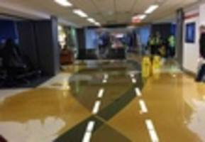 brown water pours out of ceiling in laguardia airport