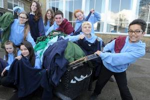 half a tonne of cambridgeshire school uniforms being sent to france to help child refugees