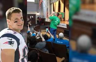 kids cheer on rob gronkowski as he chugs... water