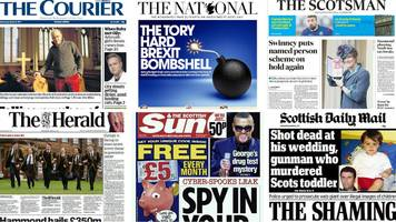 front pages: spying tvs and berry's bolognese 'shock'