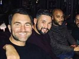 tony bellew continues celebrating after david haye victory