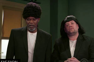 samuel l jackson acts out his entire film career in 11 minutes with james corden (video)