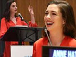 anne hathaway makes a joke during address to un