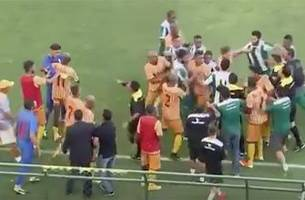 watch: brazilian soccer match descends into chaos as players brawl, military police intervene
