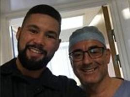 tony bellew poses with surgeon ahead of operation on hand