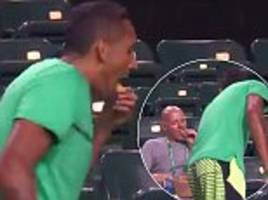 nick kyrgios eats fan's chips in indian wells doubles exit