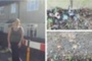 national grid leaves glass shrewn on derby mum's front lawn