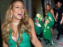 mariah carey puts on a busty display for st patrick's day