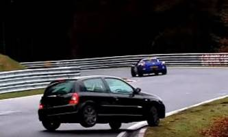 BMW 3 Series, Renault Clio RS Nurburgring Crashes Bring RWD / FWD Driving Lesson