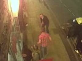 cctv shows shocking attack outside pizza shop