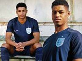 New England away kit: Football strip shown off by Rashford