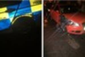 Thieves in stolen van rammed POLICE CAR four times