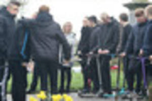 teens turn out on scooters for funeral of connor revill