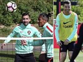 cristiano ronaldo's portugal train ahead of  hungary clash