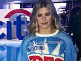 eugenie bouchard poses in £260 moschino t-shirt dress
