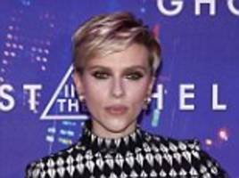scarlett johansson stuns in quirky feather dress in paris