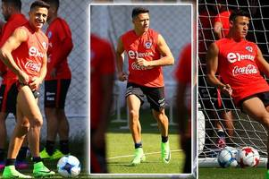 alexis sanchez trains with chile after suffering ankle injury in arsenal's defeat at west brom