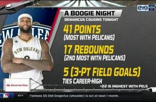 pelicans live: boogie with new career high