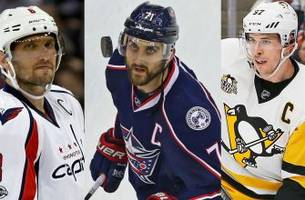 blue jackets in heated battle with caps, pens