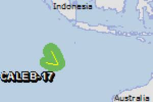 Green alert for tropical cyclone CALEB-17. Population affected by Category 1 (120 km/h) wind speeds or higher is 0.