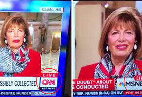 cnn and msnbc caught broadcasting the same woman at the same exact time