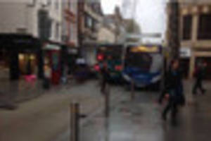 tight squeeze on exeter high street as buses get stuck
