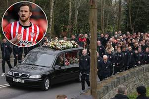 friends and family gather for funeral of ryan mcbride to pay tribute to derry city captain