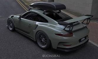 porsche 911 gt3 rs with carbon fiber roof box rendered as flat-sane daily driver