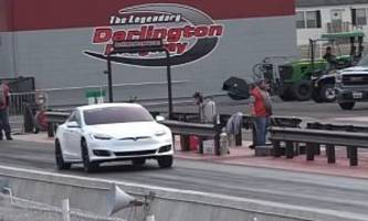 tesla model s driver removes frunk to save weight, sets 10.4s 1/4-mile record
