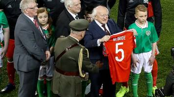 irish president given shirt as tribute to derry city captain