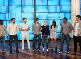 'the bachelorette' six new suitors strip down during group date on 'ellen show'
