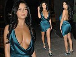 demi rose  flashes the flesh in a very revealing dress